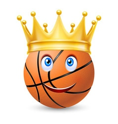 Gold crown on a basketball bal vector