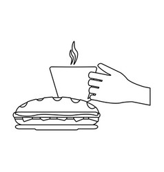 Hand coffee cup and sandwich black and white vector