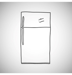 Hand drawn refrigerator sketch style vector