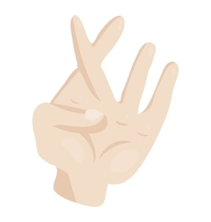 Hand with crossed fingers icon cartoon style vector image