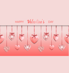happy valentines day pink seamless web banner vector image