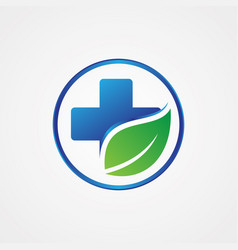 Health cross leaf symbol vector
