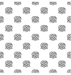 Heart pretzel pattern seamless vector