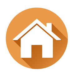 Home page icon orange round sign vector
