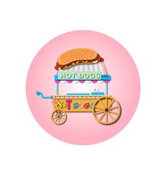 hot dogs market cart mockup vector image