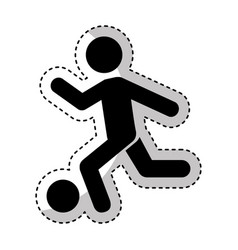 Human silhouette playing soccer vector