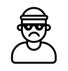 Icon a bandit in a mask and hat vector
