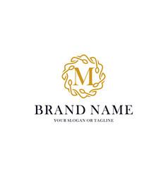 Initial letter m luxury ornament logo design vector