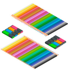 isometric set colored pencils and markers vector image