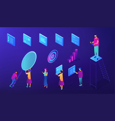 it team seo experts isometric set vector image
