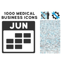 June Calendar Grid Icon With 1000 Medical Business vector