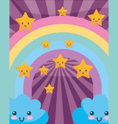 kawaii clouds rainbow stars cartoon sunburst vector image