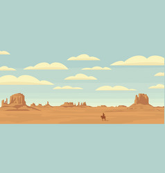 landscape with western prairies and cowboy vector image