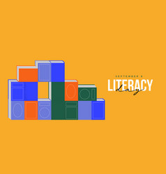 Literacy day card book pile cartoon concept vector