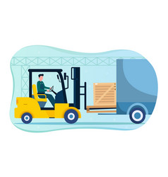 male character loading goods with forklift vector image