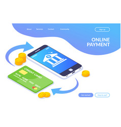 online payment isometric concept money vector image