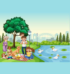 Park scene with happy family enjoying picnic vector