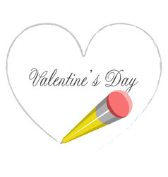 pencil drawing a heart shape valenitne day vector image
