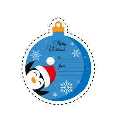 penguin in santa hat merry christmas gift tag vector image