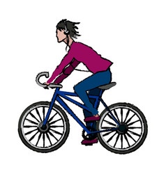 people man with headphones riding bicycle cartoon vector image