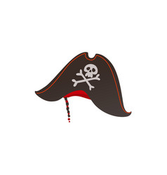 pirates captain hat with skull crossbones vector image