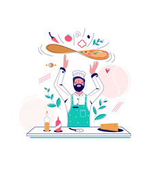 Pizza making concept for web banner vector