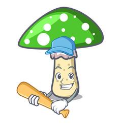 Playing baseball green amanita mushroom character vector