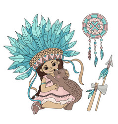 pocahontas bear indian princess animal illu vector image