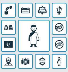 Religion icons set with pinpoint arabic vector