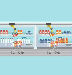 Robotic arm putting groceries in shopping trolley vector