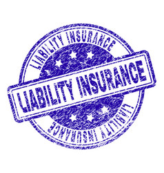 Scratched textured liability insurance stamp seal vector