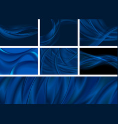 set dark blue abstract smooth waves backgrounds vector image