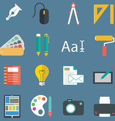 set flat design style concept icons for graphic vector image