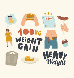 set icons weight gain theme soda drink bottle vector image