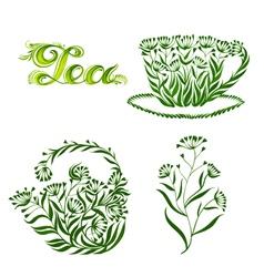 Set of decorative ornament tea vector