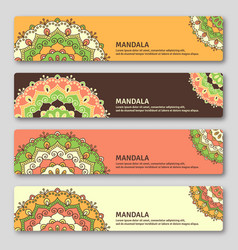set of gorizontal cards with hand drawn mandala vector image
