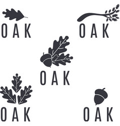 Set of logos on an oak tree with leaves and acorns vector