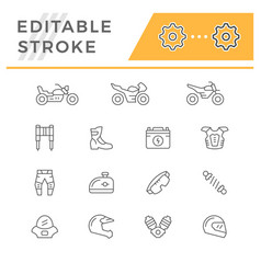 set of motorcycle related line icons vector image