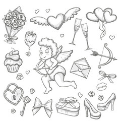 Set of sketch valentines day icons vector