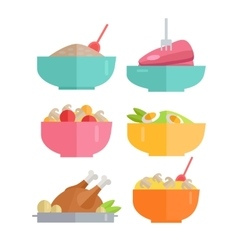 Set of Traditional Dishes in Flat Design vector