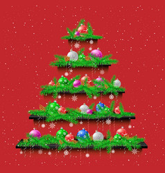 shelves christmas tree red background vector image