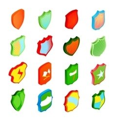Shield icons set in isometric 3d style vector image