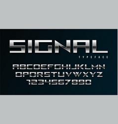shiny silver display font design alphabet vector image