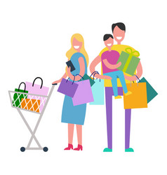 shopping family on white vector image
