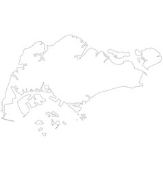 singapore outline map map black outline republic vector image