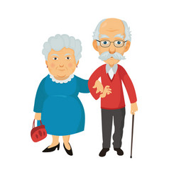 smiling standing old people grandma and grandpa vector image