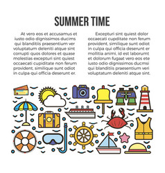 Summer time web page with holiday elements beach vector