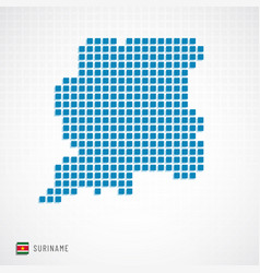 suriname map and flag icon vector image