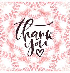 Thank you handwritten card printable calligraphy vector