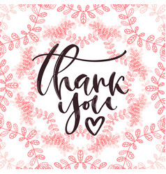 thank you handwritten card printable calligraphy vector image